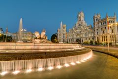 The Plaza de Cibeles with the Cibeles Fountain in Madrid at night stock photography