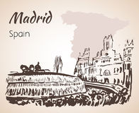 Plaza de Cibeles Fountain and Square. Madrid. On white background royalty free illustration