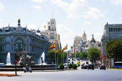 Plaza de Cibeles i Madrid Arkivfoton