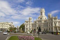 Plaza de Cibeles i Madrid, Spanien. Arkivfoto
