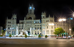 Plaza de Cibeles in Madrid, Spain at night. Royalty Free Stock Images