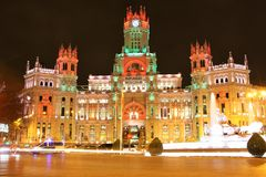Plaza de Cibeles in Madrid, Spain at night Royalty Free Stock Photos