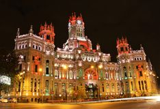 Plaza de Cibeles in Madrid, Spain at night Royalty Free Stock Images