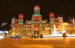 Plaza de Cibeles in Madrid, Spain at night Royalty Free Stock Image