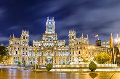 Plaza de Cibeles, Madrid, Spanien Fotografering för Bildbyråer