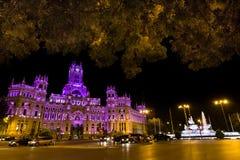Plaza DE Cibeles, Madrid, Spanje Stock Foto's