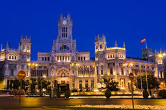 Plaza de Cibeles at night, Madrid Stock Photography