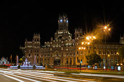 Plaza de Cibeles. At Night in Madrid. For articles about Madrid tourism Royalty Free Stock Photo