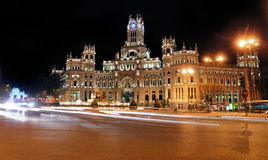 Plaza de Cibeles by Night, Madrid, Spain Stock Photos
