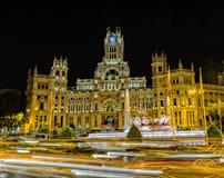 Plaza de Cibeles at night, Madrid Spain stock images