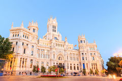 Plaza de Cibeles with the Palacio de Comunicaciones, Madrid Royalty Free Stock Images