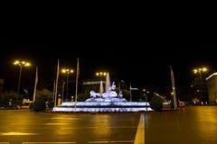 Plaza DE Cibeles 's nachts, Madrid, Spanje Royalty-vrije Stock Afbeelding
