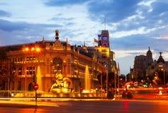 Plaza de Cibeles in summer dusk. Madrid Royalty Free Stock Images