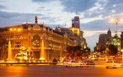 Plaza de Cibeles in summer evening. Madrid Stock Images