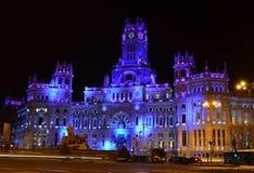 Plaza de Cibeles in vid natten - Spanien Arkivfoto