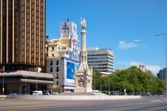 Plaza DE Colon in Paseo DE La Castellana in Madrid van de binnenstad stock afbeelding