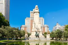 Plaza de España ή πλατεία της Ισπανίας στην κεντρική Μαδρίτη Στοκ Εικόνες