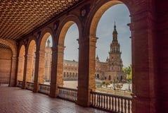 Plaza de España Σεβίλλη στην Ισπανία Στοκ Φωτογραφίες