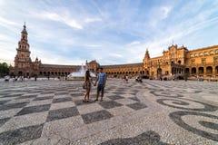 Plaza de España en la puesta del sol Sevilla Sevilla Spain imagen de archivo libre de regalías