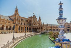 Plaza de España en Sevilla en España imagen de archivo libre de regalías