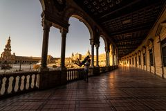 Plaza de España no por do sol Sevilha Sevilla Spain fotos de stock royalty free