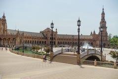 Plaza de España på Sevilla i Spanien royaltyfri fotografi