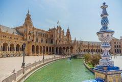 Plaza de España på Sevilla i Spanien royaltyfri bild
