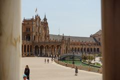 Plaza de España Séville en Espagne Images libres de droits