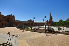 Plaza de España, που σχεδιάστηκε από AnÃbal Gonzà ¡ lez, ήταν ένα κύριο κτήριο που στηρίχτηκε στη Μαρία Luisa, Σεβίλλη, Ισπανία Στοκ Εικόνα