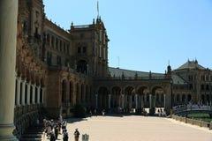 Plaza de España, που σχεδιάστηκε από AnÃbal Gonzà ¡ lez, ήταν ένα κύριο κτήριο που στηρίχτηκε στη Μαρία Luisa, Σεβίλλη, Ισπανία Στοκ Φωτογραφία