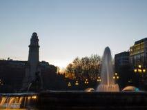 Plaza de España Por do sol Imagens de Stock Royalty Free