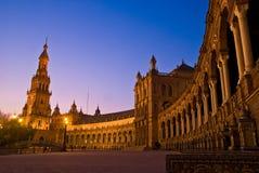 Plaza de España alla notte Immagini Stock Libere da Diritti