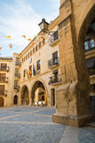 Plaza de España arcades in Calaceite. The Plaza de España is the main square in the medieval town of Calaceite in Aragon, Spain Royalty Free Stock Image
