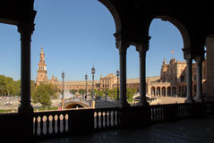 Plaza de España Sevilla. The Plaza de España (Spain Square, in English) is a plaza located in the Parque de María Luisa (Maria Luisa Park), in Seville Royalty Free Stock Image