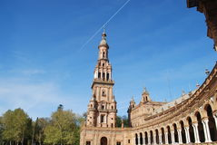 Plaza de España. In Seville is a plaza in the Parque de María Luisa. This example of Regionalism Architecture was one of the filming locations of Theed stock photo