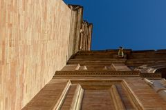 Look up to the wall of plaza de espana stock image