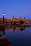 Plaza de Espa; τη νύχτα, Σεβίλλη, Ισπανία Στοκ Εικόνα