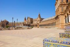 Plaza de Espa? a i Seville, Spanien Arkivbilder
