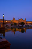 Plaza de Espa?a at night, Sevilla, Spain Stock Image