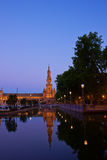 Plaza de Espa?a at night, Seville, Spain. Tower of Plaza de Espana at night, Seville, Spain Stock Image