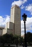 Plaza de EspaAˆoo,现代大厦,马德里,西班牙 库存照片