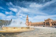 Plaza de EspaA±aa塞维利亚,安达卢西亚,西班牙 库存图片