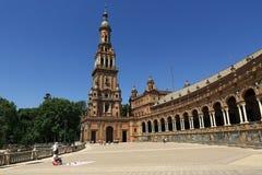 The Plaza de España, designed by Aníbal González, was a principal building built on the Maria Luisa, Sevilla, Spain Stock Image