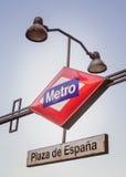 Plaza de España metro sign in Madrid, Spain Stock Images