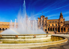 Plaza de Espana με την πηγή Σεβίλη Στοκ Φωτογραφίες
