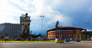 Plaza de Espana με το χώρο στη Βαρκελώνη, Ισπανία Στοκ εικόνα με δικαίωμα ελεύθερης χρήσης