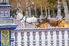 Plaza de Espana μπλε λεπτομέρεια κιγκλιδωμάτων στη Σεβίλλη, Ανδαλουσία, SP Στοκ Φωτογραφίες