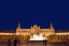 Plaza de Espana τη νύχτα στη Σεβίλη Στοκ Εικόνες