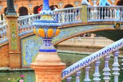 Plaza de Espana, Σεβίλη, αρχιτεκτονικές λεπτομέρειες και διακοσμήσεις Στοκ Φωτογραφίες