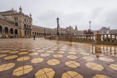 Plaza de Espana, Σεβίλη, βροχερή ημέρα Στοκ Εικόνες